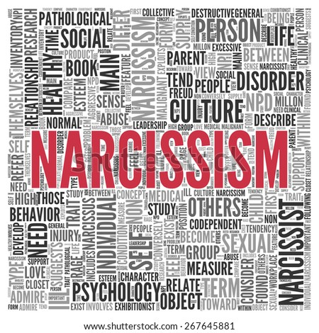 Close up Red NARCISSISM Text at the Center of Word Tag Cloud on White Background. - stock photo