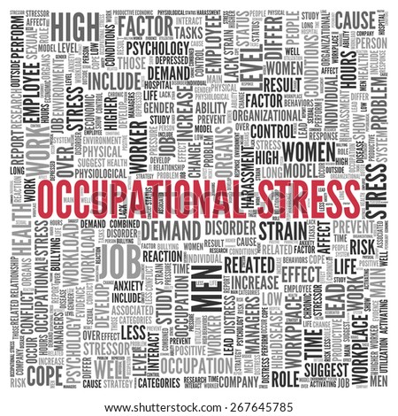 Close up Red OCCUPATIONAL STRESS Text at the Center of Word Tag Cloud on White Background. - stock photo