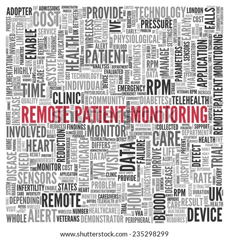Close up Red REMOTE PATIENT MONITORING Text at the Center of Word Tag Cloud on White Background.