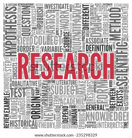 Close up Red RESEARCH Text at the Center of Word Tag Cloud on White Background. - stock photo