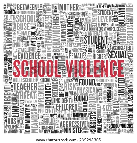 Close up Red SCHOOL VIOLENCE Text at the Center of Word Tag Cloud on White Background. - stock photo