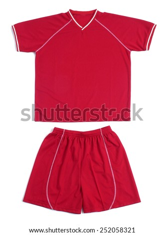 Close up Red Shirt and Shorts Sports Uniform on White Background, Emphasizing Copy Space. - stock photo