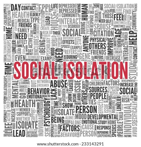 Close up Red SOCIAL ISOLATION Text at the Center of Word Tag Cloud on White Background. - stock photo