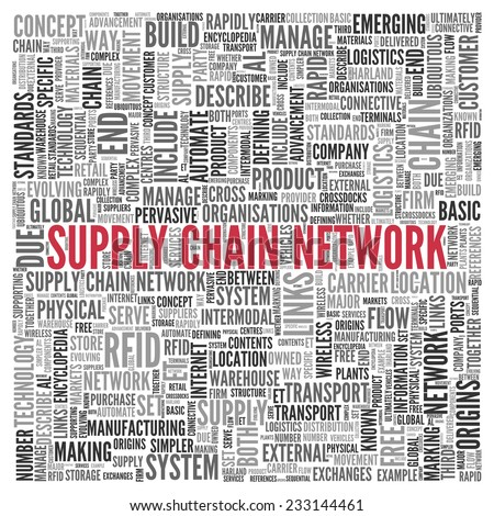 Close up Red SUPPLY CHAIN NETWORK Text at the Center of Word Tag Cloud on White Background. - stock photo