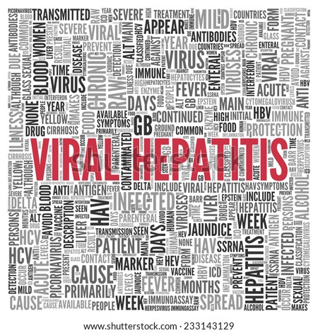 Close up Red VIRAL HEPATITIS Text at the Center of Word Tag Cloud on White Background. - stock photo