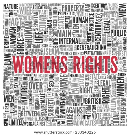 Close up Red WOMENS RIGHTS Text at the Center of Word Tag Cloud on White Background. - stock photo
