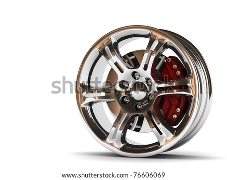 close up rendering part of chrome car rim. High quality 3d render with. - stock photo