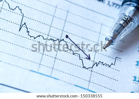 Close up report paper investment and pen - Loss concept - stock photo