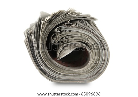 Close-up roll newspaper isolated on white background - stock photo