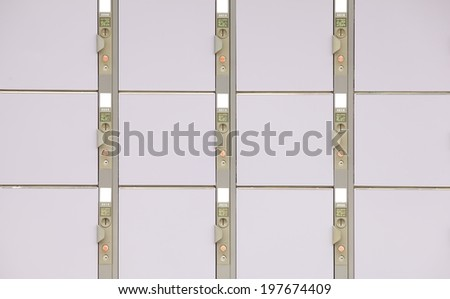Close - up row of steel locker at pubic area - stock photo