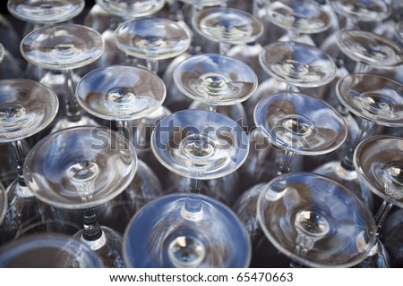 Close up Rows of Empty Glasses - stock photo