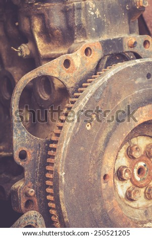 Close up rusty gears of old engine - stock photo