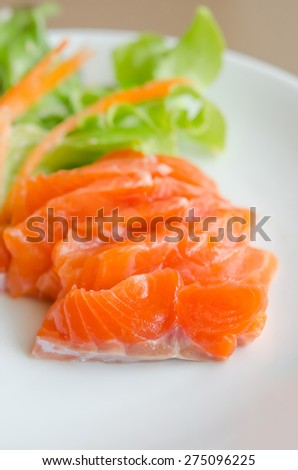 close up salmon sashimi , japanese style cuisine