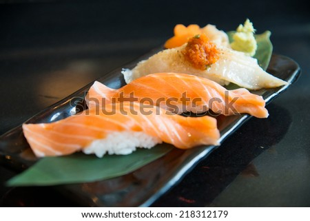 Close up salmon sushi and engawa sushi - stock photo