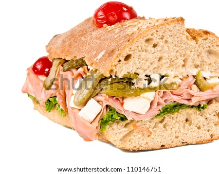 Close up sandwich isolated on white - stock photo