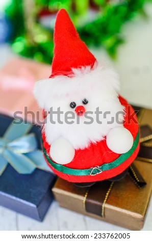 Close up Santa doll with bokeh background, dept of field.