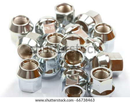 Close-up screw nuts background - stock photo