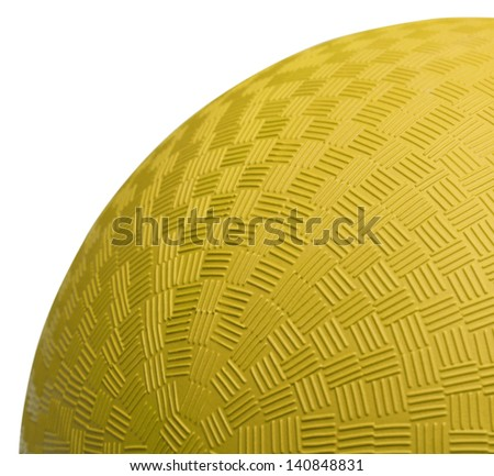 Close up Section of Yellow Dodge Ball Isolated on White Background. - stock photo