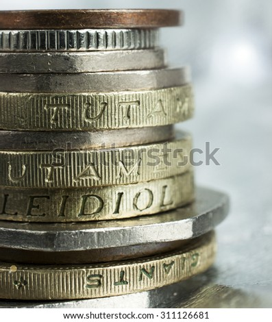 Close up selective focus on stack of coins