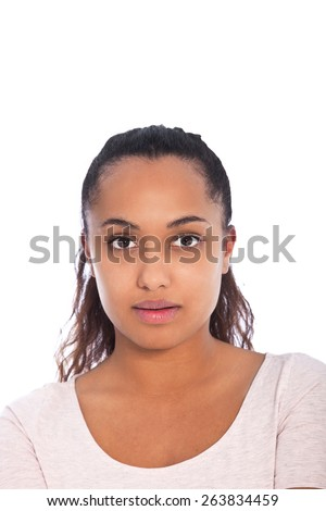 Close up Serious Face of a Young Asian Indian Woman Looking at the Camera, Isolated on White Background.