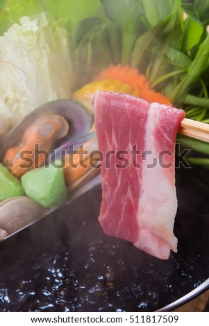 close up Shabu shabu. meat, beef and seafood.