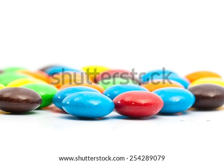 Close up - Shallow DOF,A pile of colorful chocolate coated candy-bokeh - stock photo
