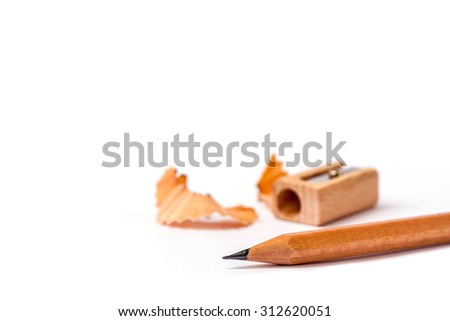 close-up sharpen wooden pencil on white background - stock photo