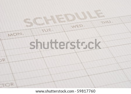 Close-up sheet schedule - stock photo