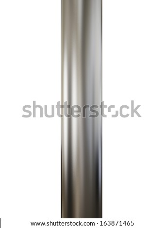 Close up shiny metal pipe on white background - stock photo