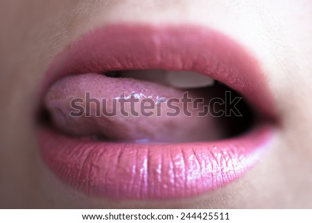 Close up shoot of lips young beautiful girl - stock photo