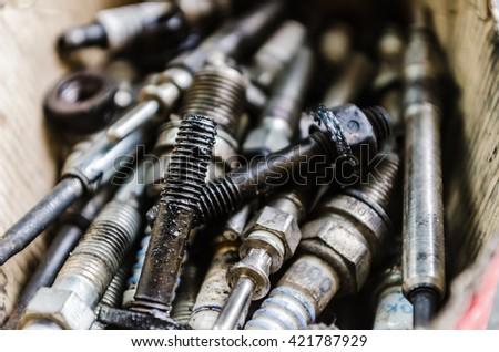 Close up shoot of some old nuts, screws and washers - stock photo
