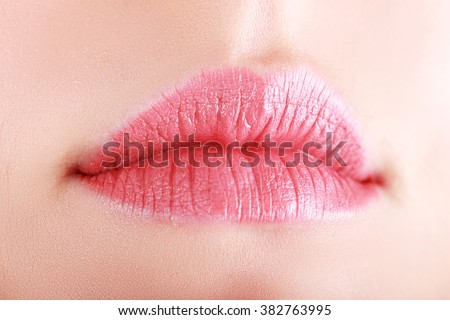 Close up shoot of young beautiful girl with perfect skin: makeup mouth zone. Lips. - stock photo