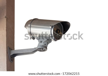 Close-Up shooting of CCTV or security camera over white background