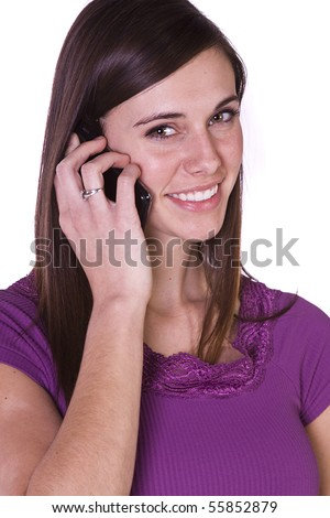 Close up Shot of a Beautiful Girl Talking on the Cell Phone - Isolated