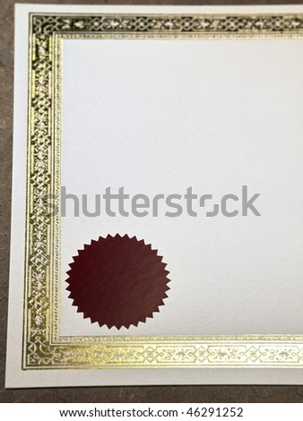 close up shot of a blank certificate on the plain background