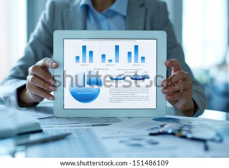 Close-up shot of a businesswoman presenting the results of the financial analysis - stock photo