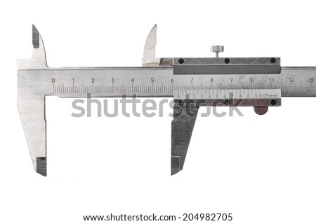 Close up shot of a caliper isolated on white. - stock photo