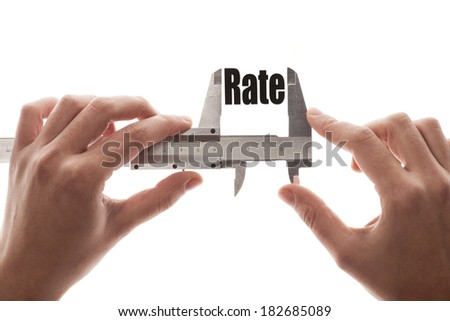"""Close up shot of a caliper measuring the word """"Rate"""" - stock photo"""