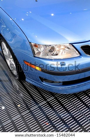 close up shot of a car head lamp - stock photo