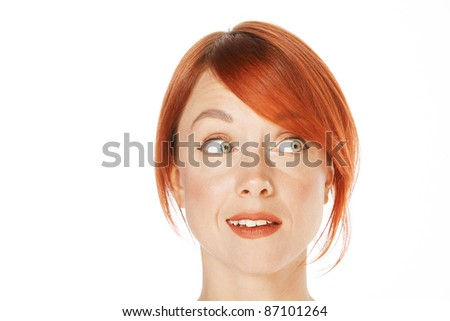 close-up shot of a caucasian beautiful woman