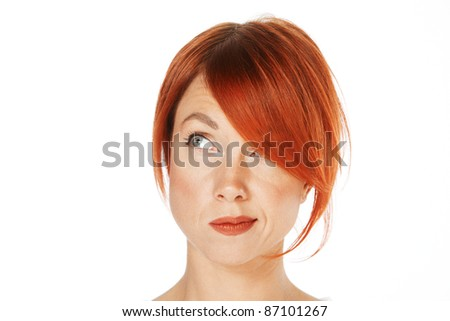 close-up shot of a caucasian beautiful woman - stock photo