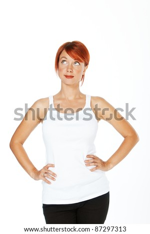 close-up shot of a caucasian beautiful woman. Looking up to the side - stock photo