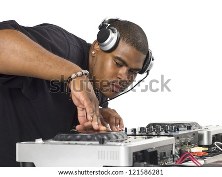 Close-up shot of a fat Disc Jockey playing music - stock photo