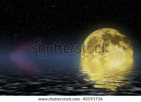 close up shot of a full moon against black background - stock photo
