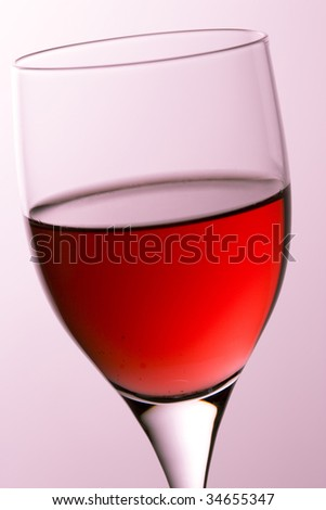 Close-up shot of a glass of rose wine