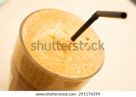 Close-up shot of a Greek frappe - stock photo