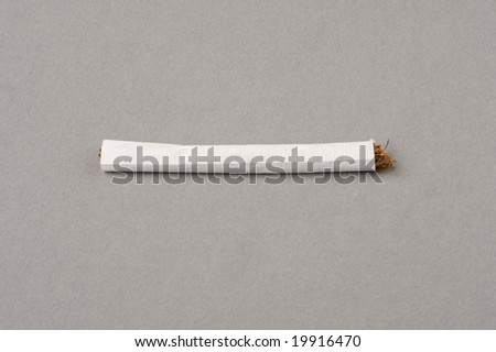 close up shot of a handrolled cigarette (shag) on a gray background with clipping Path - stock photo
