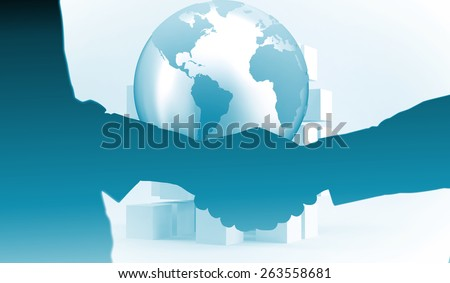 Close-up shot of a handshake in office against planet on grey background with cubes - stock photo