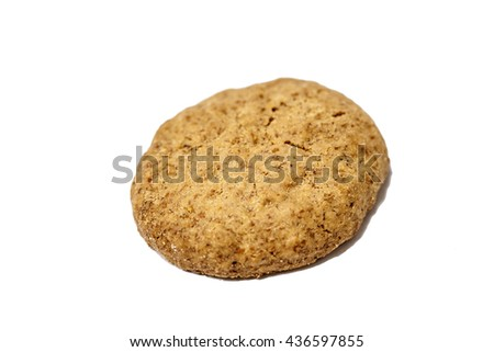 close up shot of a homemade whole meal cereal cookie made from whole wheat flour, vegetable oil, rice flour, corn flour,  rye flour and  fructo-oligosaccharides - stock photo