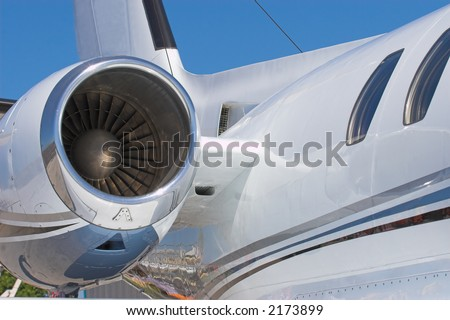 Close up shot of a jet engine - stock photo